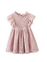 Недорогие -Дети Девочки Классический Повседневные Однотонный Кружевная отделка С короткими рукавами Средней длины Платье Розовый
