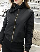 Недорогие -Жен. Повседневные Классический Осень Короткая Кожаные куртки, Однотонный Круглый вырез Длинный рукав Полиэстер Черный S / M / L