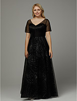 cheap -Plus Size A-Line V Neck Floor Length Tulle Formal Evening Dress with Crystals by TS Couture®