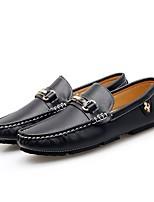 Недорогие -Муж. Комфортная обувь Кожа Весна & осень Мокасины и Свитер Белый / Черный / Синий