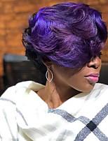Недорогие -Парики из искусственных волос Естественные кудри Фиолетовый Боковая часть / С чёлкой Черныйлиловый Искусственные волосы 6 дюймовый Жен. Новое поступление / Парик в афро-американском стиле / Омбре