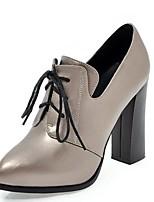 Недорогие -Жен. Микроволокно / Синтетика Весна Ботинки На толстом каблуке Черный / Светло-серый