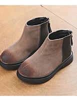 Недорогие -Девочки Обувь Замша Наступила зима Удобная обувь / Ботильоны Ботинки для Дети / Для подростков Черный / Хаки