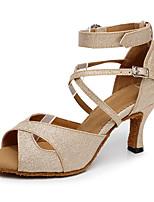 Недорогие -Жен. Обувь для латины Кожа На каблуках Кубинский каблук Персонализируемая Танцевальная обувь Золотой