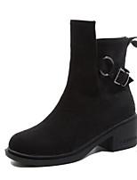 Недорогие -Жен. Замша Наступила зима Ботинки Блочная пятка Круглый носок Сапоги до середины икры Черный