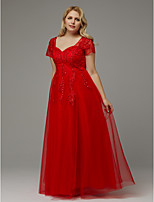 cheap -Plus Size A-Line Queen Anne Floor Length Tulle Formal Evening Dress with Beading / Appliques by TS Couture®