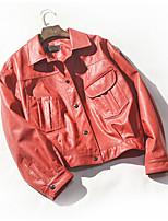 Недорогие -Жен. Повседневные Весна Обычная Кожаные куртки, Однотонный Рубашечный воротник Длинный рукав Искусственная кожа Черный / Красный / Серый S / M / L