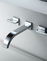 Недорогие -Ванная раковина кран - Широко распространенный Хром Другое Две ручки двумя отверстиямиBath Taps