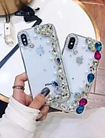 Недорогие -Кейс для Назначение Apple iPhone XR / iPhone XS Max Стразы / Прозрачный / Своими руками Кейс на заднюю панель Стразы Мягкий ТПУ для iPhone XS / iPhone XR / iPhone XS Max