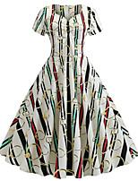 Недорогие -Жен. А-силуэт Платье - Контрастных цветов Выше колена / Сексуальные платья