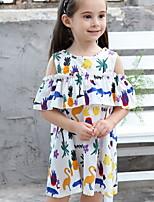 Недорогие -Дети Девочки Классический Цветочный принт С принтом С короткими рукавами До колена Полиэстер Платье Белый