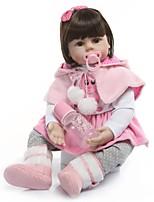 Недорогие -NPKCOLLECTION Куклы реборн Девочки 24 дюймовый Подарок Ручная работа Искусственная имплантация Коричневые глаза Детские Девочки Игрушки Подарок