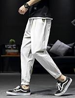 Недорогие -Муж. Гарем Сплетенные брюки Зеленый Синий Серый Виды спорта Сплошной цвет Брюки Нижняя часть Спорт в свободное время Бег Фитнес Большие размеры Спортивная одежда / Слабоэластичная / Быстровысыхающий