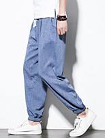 Недорогие -Муж. Гарем Сплетенные брюки Светло-серый Небесно-синий + белый Темно-серый Виды спорта Сплошной цвет Компрессионная одежда Тренировка в тренажерном зале Большие размеры Спортивная одежда