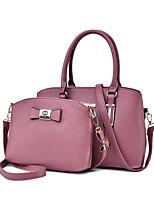 cheap -Women's Zipper PU Bag Set Solid Color 2 Pieces Purse Set Black / Blushing Pink / Blue