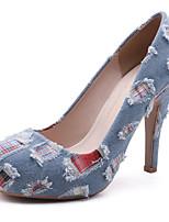 Недорогие -Жен. Деним Весна & осень Милая Обувь на каблуках На шпильке Круглый носок Светло-синий / Контрастных цветов