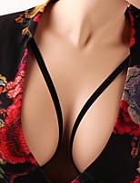 Недорогие -Женский Супер секси Открытые чашки Бюстгальтер-клетка На бретелях Хлопок Нейлон Черный Один размер