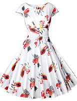 Недорогие -Жен. Винтаж Уличный стиль А-силуэт С летящей юбкой Платье - Цветочный принт, Плиссировка Выше колена