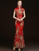 Недорогие -Взрослые Жен. Китайский дизайн В китайском стиле Оса-Waisted Cheongsam Назначение Выступление Помолвка Девичник Хлопок Длинный Чонсам