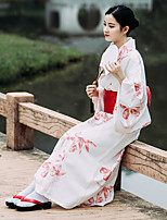 Недорогие -гейша Взрослые Жен. Кимоно Инвентарь Кимоно Махровый халат Назначение Halloween На каждый день фестиваль Хлопко-льняная смешанная ткань кимоно Пальто Пояс на талию
