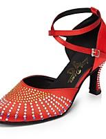 Недорогие -Жен. Обувь для модерна Сатин На каблуках Стразы Тонкий высокий каблук Персонализируемая Танцевальная обувь Красный