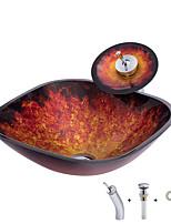 Недорогие -умывальник для ванной / монтажное кольцо для ванной / водосток для ванной Античный - Закаленное стекло Квадратный