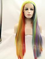 Недорогие -Синтетические кружевные передние парики Естественные прямые / Естественный прямой Омбре Стрижка каскад Радужный 130% Человека Плотность волос Искусственные волосы 24 дюймовый Жен. / Лента спереди