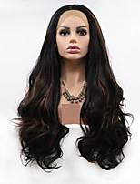 Недорогие -Синтетические кружевные передние парики Естественные кудри / Loose Curl Черный Стрижка каскад Черный 130% Человека Плотность волос Искусственные волосы 24 дюймовый Жен. Женский Черный / Коричневый