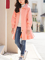 Недорогие -Дети Девочки Симпатичные Стиль Однотонный Длинный рукав Мини Хлопок Платье Розовый