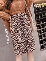 Недорогие -женские юбки длиной до колена - леопард