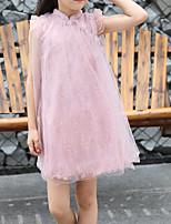 Недорогие -Дети / Дети (1-4 лет) Девочки Цветочный принт Сетка / Вышивка Искусственный шёлк / Полиэстер Платье Розовый