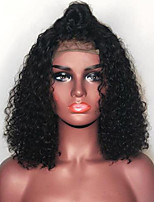cheap -Remy Human Hair Lace Front Wig Bob Short Bob Free Part style Brazilian Hair Curly Black Wig 130% Density with Baby Hair Natural Hairline For Black Women 100% Virgin 100% Hand Tied Black Women's Short
