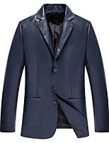 Недорогие -Муж. Повседневные Классический Осень Обычная Кожаные куртки, Однотонный Рубашечный воротник Длинный рукав Полиуретановая Синий XL / XXL / XXXL