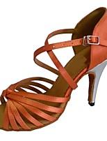 Недорогие -Жен. Обувь для латины Сатин Сандалии Тонкий высокий каблук Персонализируемая Танцевальная обувь Черный / Миндальный