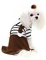 Недорогие -Собаки Платья Одежда для собак Полоски Кофейный Терилен Костюм Назначение Корги Гончая Бульдог Осень Зима Мужской Милый стиль На каждый день