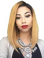 Недорогие -человеческие волосы Remy Полностью ленточные Парик Стрижка боб Короткий Боб Rihanna стиль Бразильские волосы Прямой Блондинка Парик 130% Плотность волос / Волосы с окрашиванием омбре
