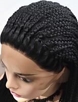 Недорогие -Синтетические кружевные передние парики переплетенный Черный Стрижка каскад Черный 130% Человека Плотность волос Искусственные волосы 24 дюймовый Жен. Женский Черный Парик Длинные Лента спереди Sylvia