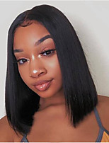 cheap -Human Hair Lace Front Wig Bob Short Bob Middle Part style Brazilian Hair Silky Straight Black Wig 130% Density with Baby Hair Natural Hairline For Black Women 100% Virgin 100% Hand Tied Black Women's