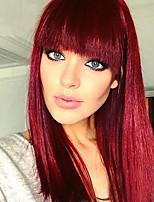 Недорогие -Парики из искусственных волос Естественный прямой Красный Стрижка боб / С чёлкой Вино Искусственные волосы 14 дюймовый Жен. новый Красный Парик Средняя длина Без шапочки-основы