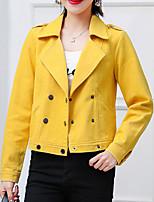 Недорогие -Жен. Повседневные Весна Обычная Кожаные куртки, Однотонный Приподнятый круглый Длинный рукав Искусственная кожа Белый / Розовый / Желтый M / L / XL