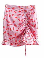 Недорогие -женская юбка выше колена - фруктовая