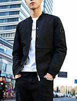 Недорогие -Муж. Повседневные Уличный стиль Весна Обычная Куртка, Однотонный V-образный вырез Длинный рукав Полиэстер Черный / Серый / Военно-зеленный XL / XXL / XXXL