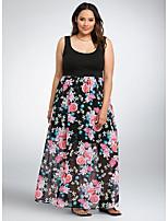 Недорогие -Жен. Элегантный стиль Оболочка Платье - Цветочный принт Макси