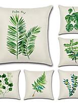Недорогие -6 штук Хлопок / Лён Наволочки, Цветочный принт Деревья / Листья Мода Природа тропический
