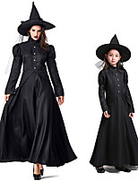 cheap -Witch Dress Cosplay Costume Outfits Group Costume Kid's Adults' Women's Cosplay Halloween Halloween Festival / Holiday Polyester Black Women's Easy Carnival Costumes / Hat / Hat