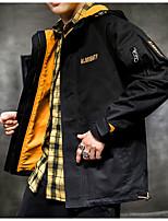 Недорогие -Муж. Повседневные Весна Обычная Куртка, Контрастных цветов / Буквы Капюшон Длинный рукав Полиэстер Белый / Черный XL / XXL / XXXL