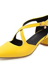 Недорогие -Жен. Полиуретан Весна & осень Обувь на каблуках На толстом каблуке Квадратный носок Пряжки Черный / Желтый / Красный