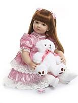 Недорогие -NPKCOLLECTION Куклы реборн Девочки 24 дюймовый Винил - Подарок Очаровательный Искусственная имплантация Коричневые глаза Детские Девочки Игрушки Подарок