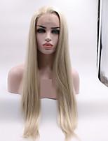 Недорогие -Синтетические кружевные передние парики Естественные прямые / Естественный прямой Золотистый Стрижка каскад Мед блондинку 130% Человека Плотность волос Искусственные волосы 24 дюймовый Жен. Женский