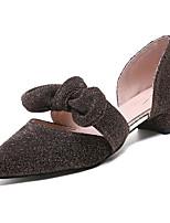 Недорогие -Жен. Полиуретан Весна Милая Обувь на каблуках На низком каблуке Заостренный носок Бант Черный / Кофейный / Розовый
